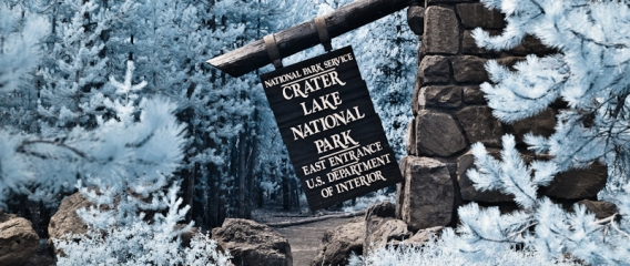 Crater Lake East Entracne Sign